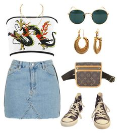"""Untitled #1214"" by lucyshenton ❤ liked on Polyvore featuring Topshop, Ray-Ban, Converse and Louis Vuitton"