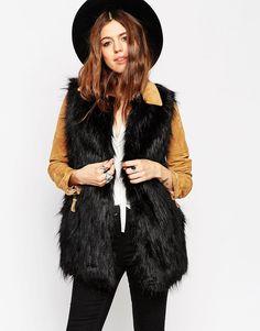 ASOS+Sleeveless+Faux+Fur+Coat
