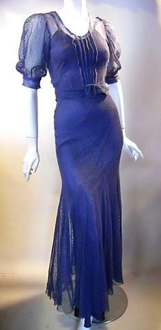 Deep blue fishnet mesh 30s dress with puff sleeves