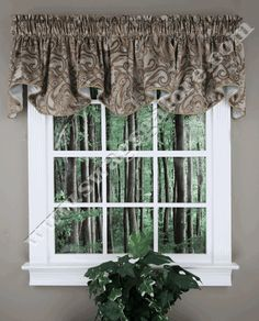 Bali Lined Scalloped Valance – Natural - Renaissance - Kitchen Valances