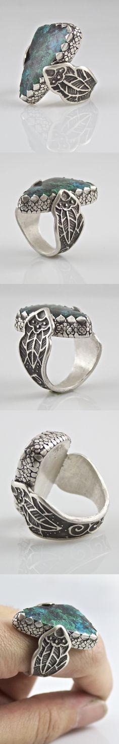 """Hamilton Creek Grotto"" sterling silver metal clay ring"