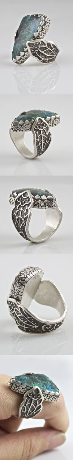 """Hamilton Creek Grotto"" sterling silver metal clay ring"