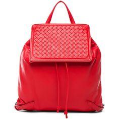 Bottega Veneta Woven Leather Backpack ($2,450) ❤ liked on Polyvore featuring bags, backpacks, handbags, draw string backpack, red bag, bottega veneta, red drawstring bag and woven bag