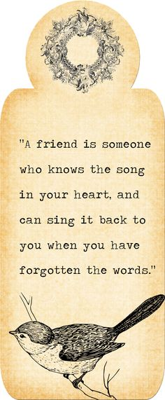 """A friend is someone who knows the song in your heart and will sing it back to you when you have forgotten the words."""