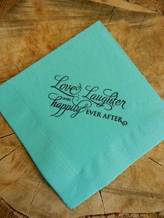 Mint Love Laughter and Happily Ever After Wedding Hand Stamped Paper Cocktail Napkins - Set of 50 on Etsy, $16.47 AUD