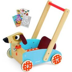 Janod 05995 Crazy Doggy Chariot Push Cart with Coloring Book