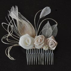 Hair Accessory,bridal comb, wedding  comb ,bridal head piece,wedding hair piece,Ivory-champagne peacock Feathers
