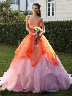 Robe de mariage soutenue boule en organza et chache-coeur multicouche à traîne courte - Milanoo.com