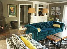 Old chesterfield reupholstered in Sunbrella indoor/outdoor velvet in teal  |  AStoriedStyle.com