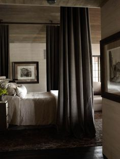 Love the industrial feel while still getting the four poster look.