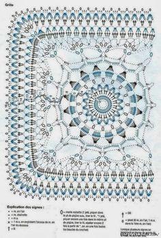Best 11 World crochet: Motif 282 Motif Mandala Crochet, Crochet Motifs, Granny Square Crochet Pattern, Crochet Blocks, Crochet Diagram, Crochet Chart, Crochet Squares, Crochet Granny, Filet Crochet