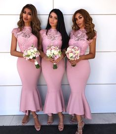 Custom Made Colorful Lace Bridesmaid Dresses, Bridesmaid Dresses Pink, High Low Party Dress, Party Dress Mermaid Sale Appealing High Low Party Dress Mermaid Jewel Cap Sleeves High Low Pink Bridesmaid Dress With Lace Tea Length Bridesmaid Dresses, Mermaid Bridesmaid Dresses, Lace Party Dresses, Lace Bridesmaid Dresses, Mermaid Dresses, Lace Dress, Lace Mermaid, Mermaid Wedding, Prom Dress