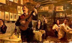 Aldo Balding (b.1960) —Guitarist at Los Caracoles  (1166x700)