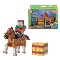 Minecraft Steve with Chestnut Horse Action Figure 2-Pack Jazwares Minecraft Action Figures