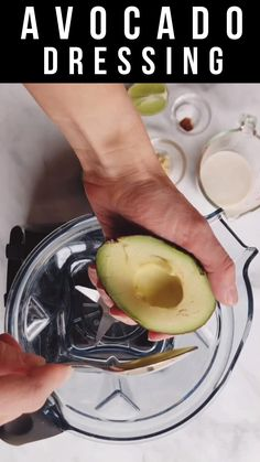 This creamy Avocado Dressing is quick and easy! With only 6 simple ingredients, and 5 minutes, you'll have a healthy oil-free whole food plant-based dressing for your favorite salads or Buddha bowls! Vegan Avocado Dressing, Oil Free Salad Dressing, Vegan Salad Dressings, Plant Based Whole Foods, Plant Based Eating, Plant Based Diet, Vegan Recipes Videos, Whole Food Recipes, Whole Food Diet