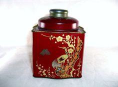 Red Tea Caddy Tin Chinese Motifs Butterflies Birds by tantarosie