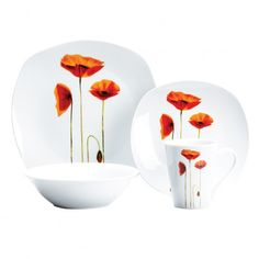 Sonata Square 16 pieces Dinner Set, I want this set for me Orange Table, Dinner Sets, Lighting System, Car Lights, Kitchen Items, Cozy House, Dinnerware, Plates, Dishes