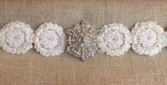 Garter Ivory Snowflake Winter Wedding Garter Set by BrilliantBride