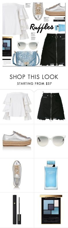 """""""Add Some Flair: Ruffled Tops"""" by monica-dick ❤ liked on Polyvore featuring Exclusive for Intermix, County Of Milan, Prada, Ray-Ban, Dolce&Gabbana, Lancôme, Yves Saint Laurent, Valentino, ruffles and polyvoreeditorial"""
