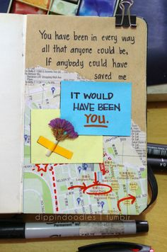 "dippindoodles: ""Quote from All the Bright Places (Jennifer Niven) Xx see another entry i made awhile back also from All the Bright Places here Note: Any guesses on what map I tore this from? Ya Books, I Love Books, Good Books, Place Quotes, Words Quotes, Qoutes, All The Bright Places Quotes, Bujo, Theodore Finch"