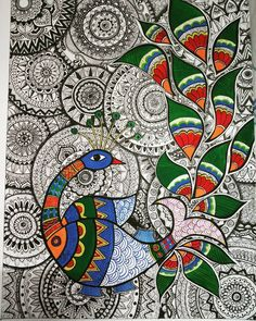Spent half a week🙈. Madhubani Paintings Peacock, Kalamkari Painting, Peacock Painting, Madhubani Art, Indian Art Paintings, Art Sketches, Art Drawings, Gond Painting, Bright Art