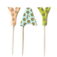 """YAY Cake Toppers - Babasouk – Add a little festive touch to your cake, your cupcakes or cookies with these reusable cake toppers because today is an awesome day to celebrate! -Reusable: clean them after use with soap and water and party again! -Each letter is around 2"""" x 2.5"""" - 7"""" wooden skewer Psssssssst! By purchasing from us, you are... #babasouk #birthdaycaketoppers #birthdaydecor"""