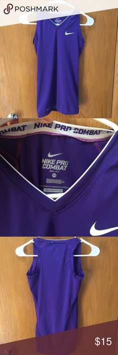 Nike pro compression tank top Nike pro tank top! Never worn. In perfect condition! Color: purple Size: XS stretchy and very comfortable! Unfair price?? Me me an offer  Nike Tops Tank Tops