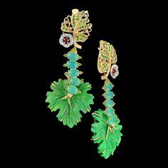 Earrings of 14K yellow and white gold, green turquoise 21,53 ct, diamonds, black diamonds, yellow diamonds, orange sapphires, tsavority, demantoids.