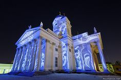 The Lutheran church of Helsinki, during the festival of light. Photo: Niklas Sjöblom