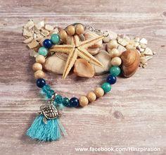 Sommerliches Armband mit Quaste, Schildkröte, Holz-, Glasschliff und Edelsteinperlen.