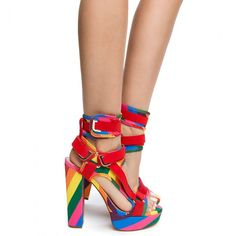 Rainbow Heels, Rainbow Outfit, Shoe Boots, Shoes Heels, Heels Outfits, Shoe Size Conversion, 2 Inch Heels, Beautiful Shoes, Girls Shoes
