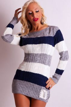 e6d99945382c53 BLUE-WHITE STRIPED KNITTED JUMPER