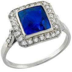 Estate_EGL_Certified_2.47ct__Cushion_Cut_Natural_Sapphire_0.27ct_Old_Mine_Cut_Diamond_Platinum_Engagement_Ring   New York Estate Jewelry   Israel Rose