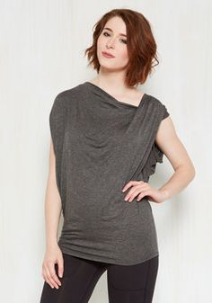 Confident Curator Top. Youve compiled some incredibly creative collections, including your closet - and this grey top is the piece de resistance! #grey #modcloth