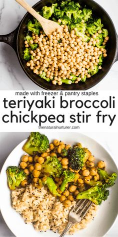 Easy, delicious and made from items you likely have in your freezer or pantry, this Teriyaki Broccoli Chickpea Stir Fry is going to be a new healthy dinner recipe staple. A naturally vegan, plant based and gluten free recipe. Tasty Vegetarian Recipes, Vegan Dinner Recipes, Vegan Dinners, Easy Healthy Recipes, Veggie Recipes, Whole Food Recipes, Diet Recipes, Easy Meals, Plant Based Dinner Recipes