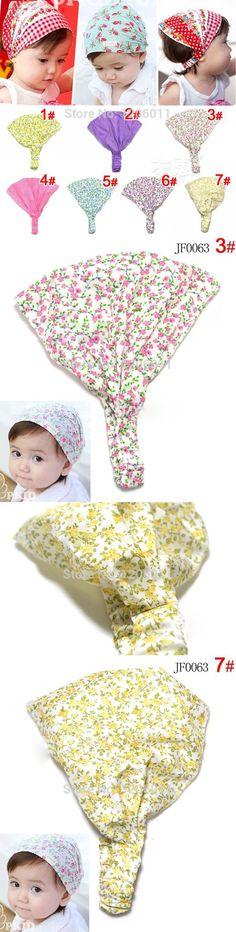 6Colors 20PCS/Lot Printing small flower Cotton Baby Headband Children Girl Bandanas Head scarf Band 1-3 Year Kids Girls