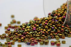 RR Miyuki Round Rocailles Beads, Duracoat Galvanized Berry Iris Gold, 10 - 30 gram Seed Be Handmade Items, Handmade Gifts, Gold Material, Bag Making, Seed Beads, Iris, Berry, Seeds, Shapes