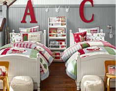 Shared Bedroom Idea   Pottery Barn Kids.  love the giant initial.