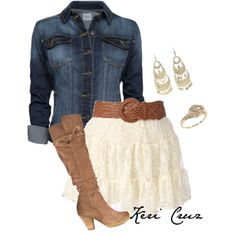 Love the skirt and boots. Would pick a different denim jacket though with a white tank top
