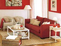 parede branca com estilo rustico sofá vermelho - Pesquisa Google