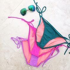 NEVER WORN Athleta Bundle Athleta Solid String Bottoms  • Hot pink, highlighter purple & teal blue.  • Each originally $44 • NEVER WORN!!  If you only like one color, I'd be happy to make a separate listing for you :) Athleta Swim Bikinis