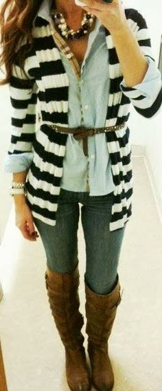 Fall outfit with brown boots | Fashion World. I love the print on the inside of this shirt:)