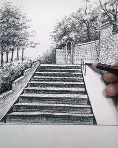 Road Drawing, 3d Art Drawing, Art Drawings Beautiful, Art Drawings Sketches Simple, Landscape Pencil Drawings, Drawing Scenery, Doodle Art Designs, Diy Canvas Art, Art Lessons