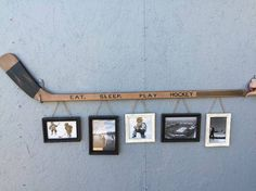 Retro Hockey Stick with 5 Hanging Frames.They had this for sale in Kenora when … Retro Hockey Stick with 5 Diy Projects For Bedroom, Diy Projects For Men, Diy For Men, Project Projects, Hockey Crafts, Hockey Decor, Crosse De Hockey, Boy Room, Kids Room