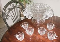 Federal Glass Co. Thumbprint JUBILEE Punch Bowl Stand 23 cups