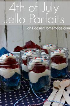 4th of July Treat :: Jello Parfaits :: Recipe on HoosierHomemade.com