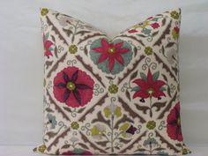 "SALE - Suzani Floral Print Designer Pillow Cover- 20"" X 20"" - Jiya Cherry Blossom"