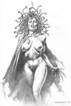 Medusa Drawing, Medusa Tattoo, Medusa Comics, Apollo Tattoo, Techno, Nightmare Before Christmas Tattoo, Medusa Gorgon, Dark Art Tattoo, Comic Art Community