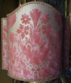 Venetian Lamp Shade Fortuny Fabric Red & Gold Vivaldi Pattern Half Lampshade - Handmade in Italy