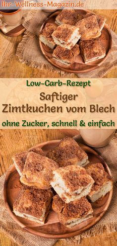 Saftiger, schneller Zimtkuchen vom Blech: Gesundes Low-Carb-Rezept für einfache… Juicy, quick cinnamon cake from the tin: Healthy low-carb recipe for simple cake without sugar and cornmeal; Low in carbohydrates, low in calories and simply delicious … Healthy Low Carb Recipes, Low Carb Desserts, Healthy Dessert Recipes, Healthy Snacks, Cake Recipes, Low Calorie Cake, Law Carb, Desserts Sains, Cinnamon Cake